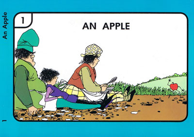 Excerpt from book showing family sitting on the ground while an apple runs away
